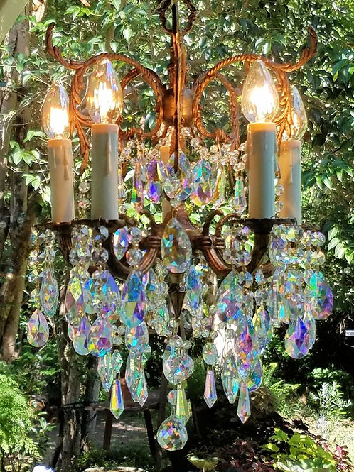 Antique Petite Crystal and Brass Chandelier