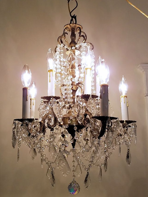 Antique 10 Light Brass and Crystal Chandelier