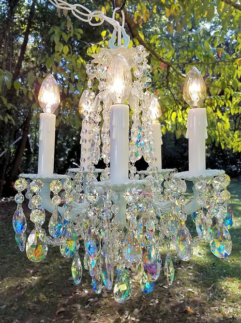 Vintage Petite Aqua and Aurora Borealis Crystal Chandelier