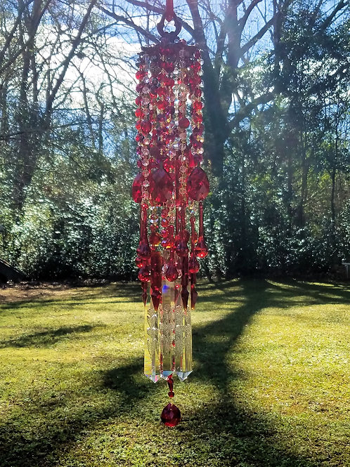 Ruby Crystal Wind Chime