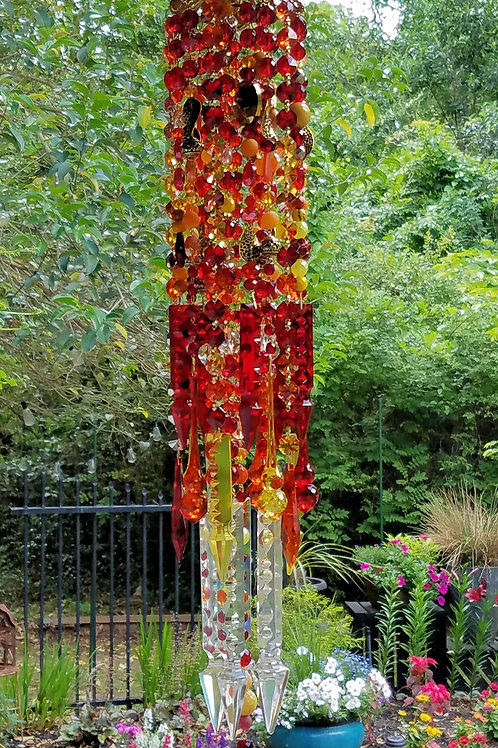 Red, Yellow, Orange Crystal Wind Chime