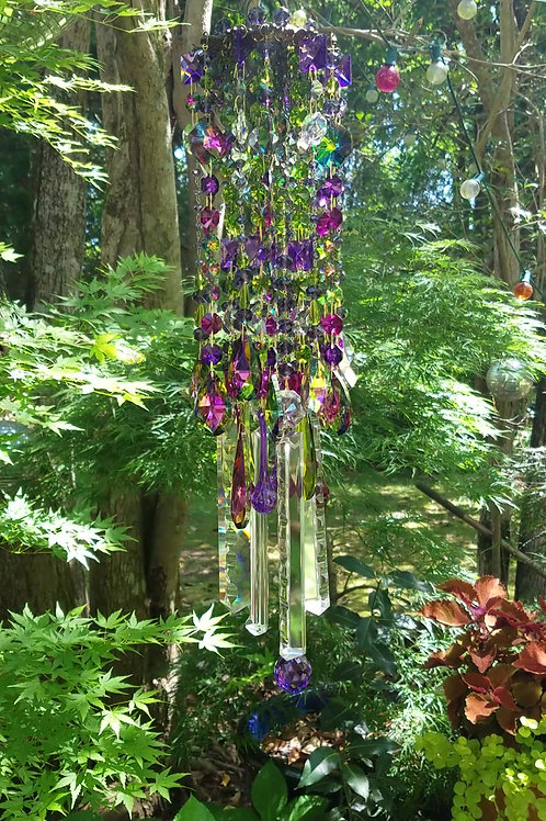 Olive Green, Purple, Magenta Antique Crystal Wind Chime