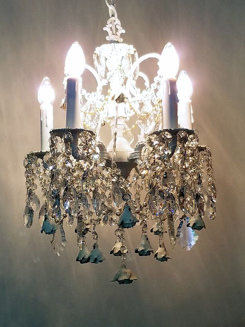 Antique White Roses Chandelier
