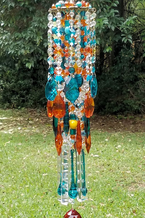 Teal and Orange Crystal Wind Chime