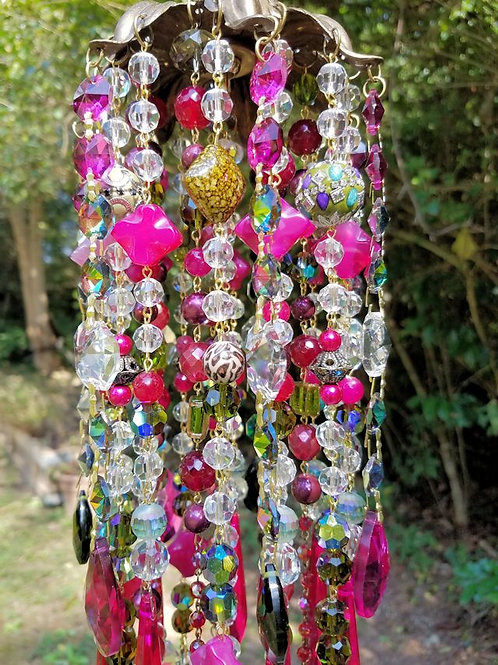 Magenta and Green Antique Crystal Wind Chime