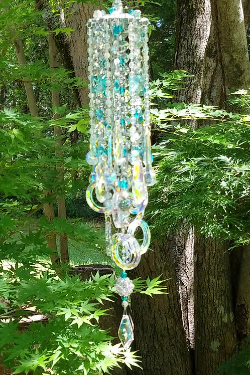 Iridescent, Silver and Turquoise Blue Crystal Sun Catcher