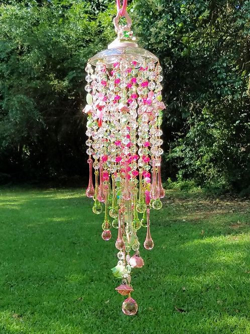 Pink and Green Crystal Wind Chime