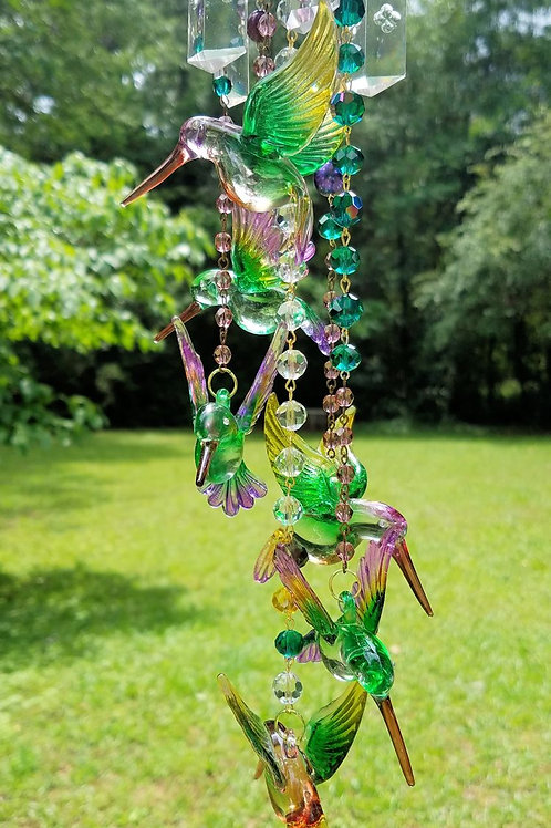 Hummingbirds Antique Crystal Wind Chime