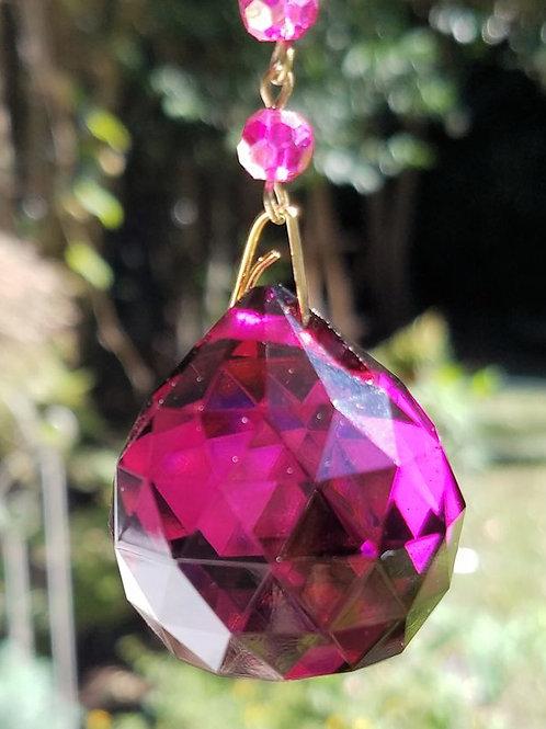 Magenta Crystal Ball Sun Catcher
