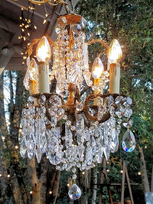 Petite Antique Brass and Crystal Chandelier