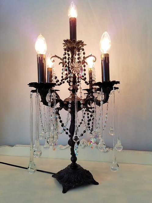 Antique Black Candelabra, Gothic Girandole