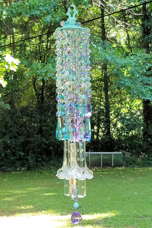 Aqua and Violet Antique Crystal Wind Chime