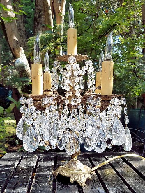 Vintage Brass and Crystal Candelabra Table Chandelier