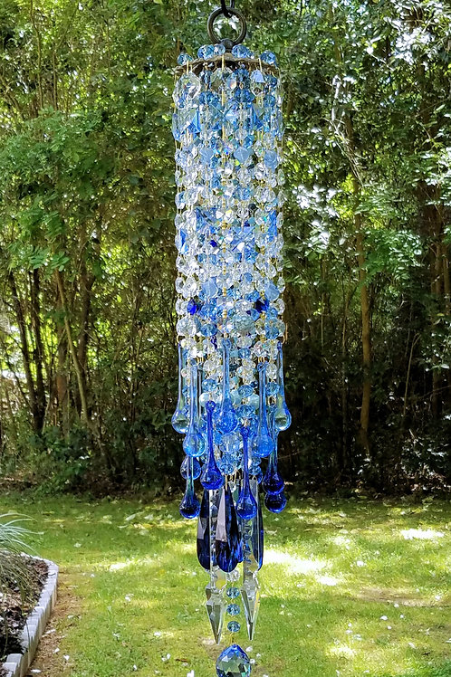Light and Dark Sapphire Antique Crystal Wind Chime