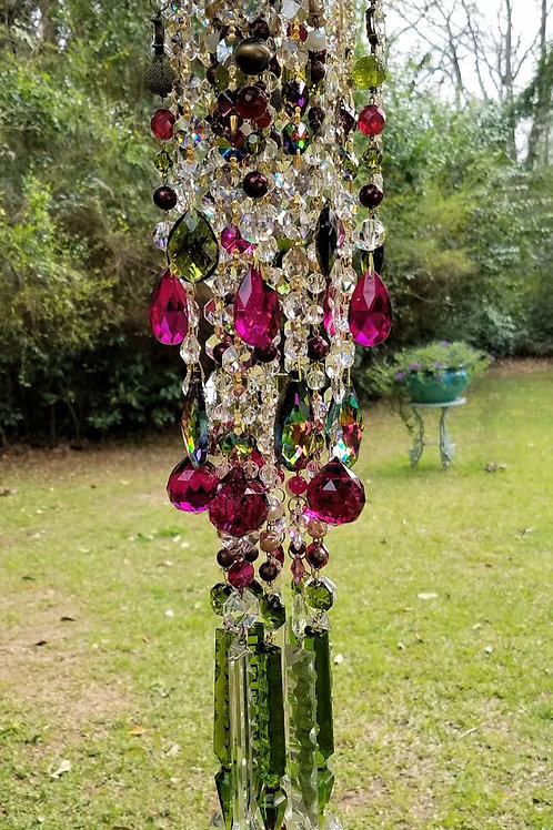 Magenta and Olivine Antique Crystal Wind Chime