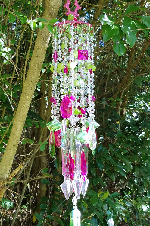 Antique Green Roses and Hot Pink Crystal Wind Chime