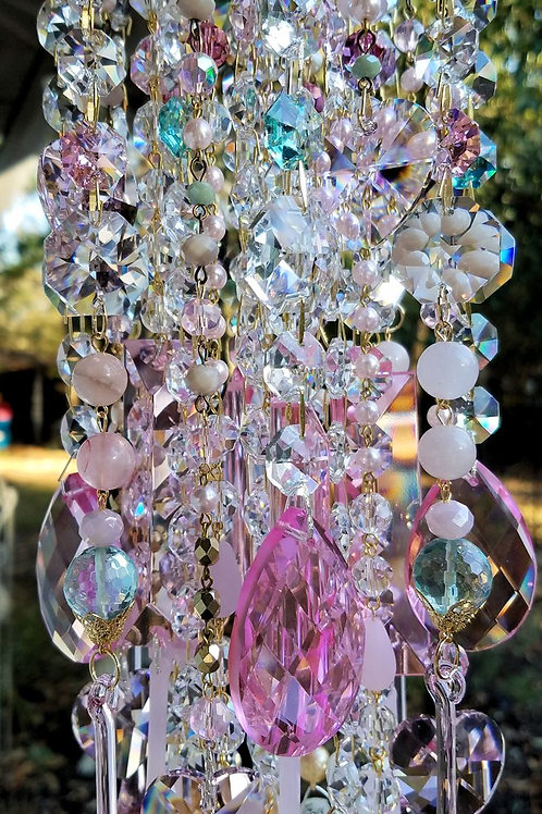 Hearts and Flowers Antique Crystal Wind Chime