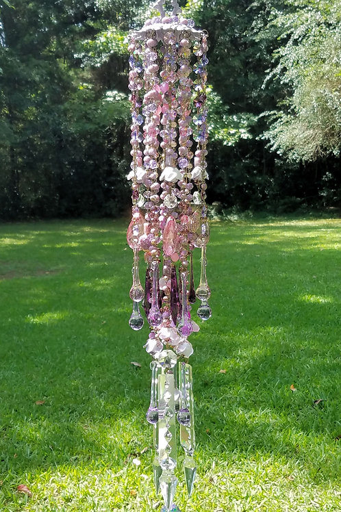 Victorian Lavender Roses Crystal Wind Chime
