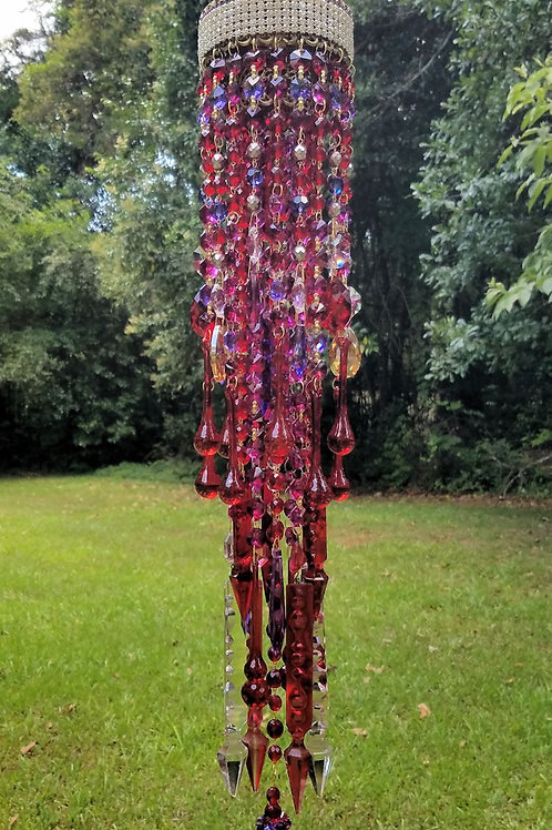 Jeweled Ruby Red Antique Crystal Wind Chime