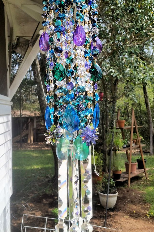 Aqua and Purple Antique Crystal Wind Chime