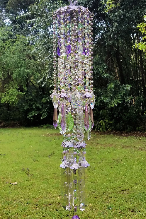 Lavender Roses Crystal Wind Chime