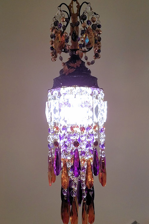 Purple and Copper Crystal Pendant Chandelier