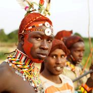 Portrétní, reportážní fotografie - válečník kmene Samburu, Keňa