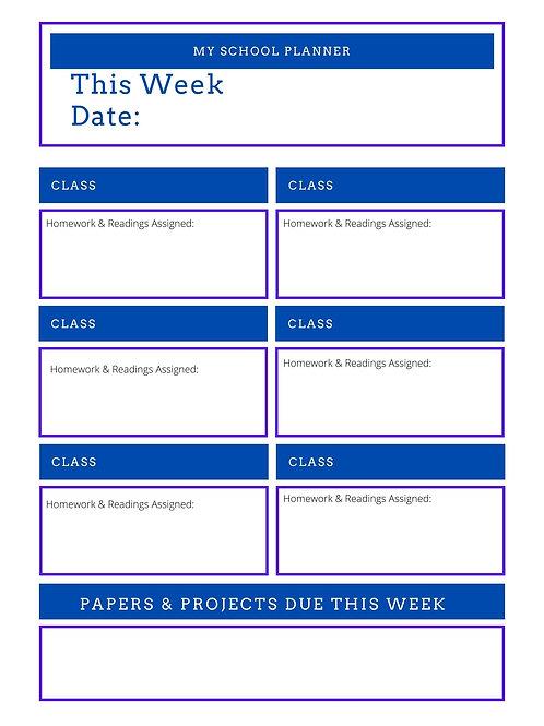 Blue Weekly Homework Planner