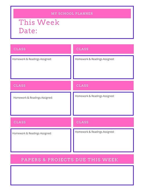 Pink Weekly Homework Planner