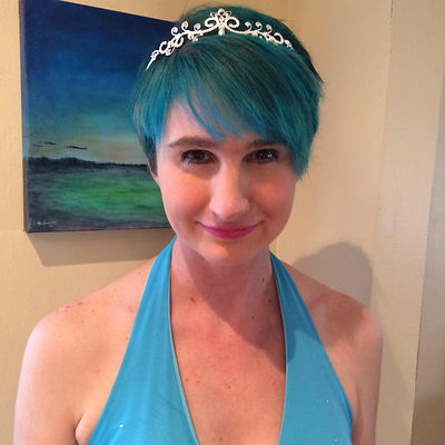 Picture of Nicole, Millenial Mom, wearing a halloween princess costume.