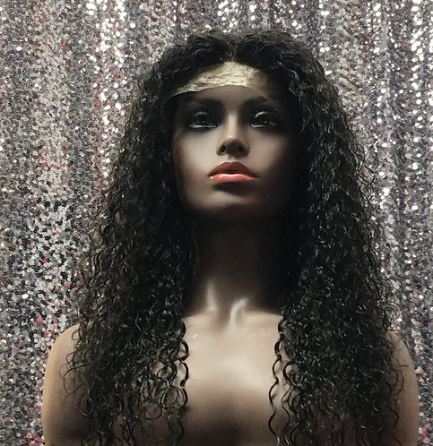 "19"" 100% Human Hair Curly Lace Front Baby Hairs Wig"