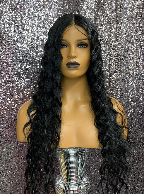 """22"""" Human Hair Blend Deep Part Lace Frontal Wig"""