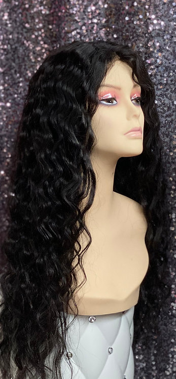 "21"" 100% Virgin Human Hair Lace Frontal Lace Nape Wig"