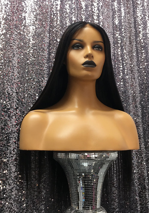 """22"""" 100% Human Hair Glueless Lace Frontal Wig"""