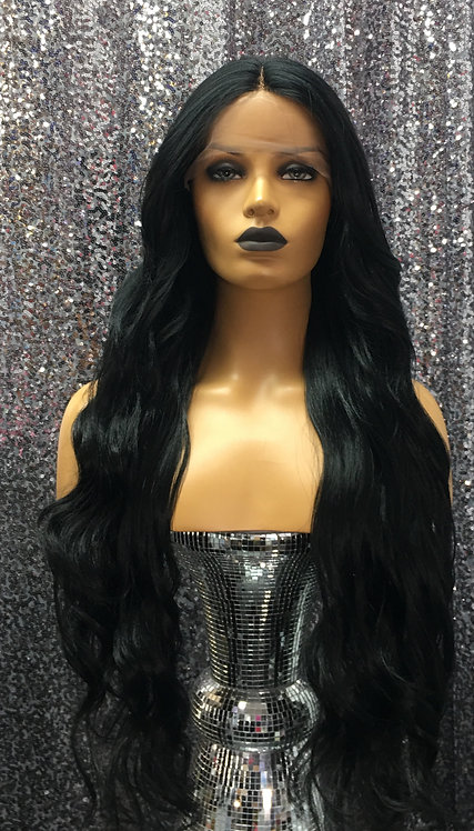 "26"" Human Hair Blend Deep Lace Part Lace Frontal Wig"