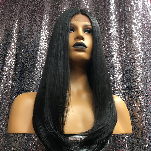 "14"" Human Hair Blend Italian Straight Lace Frontal Deep Part Wig"