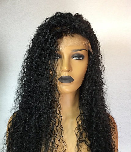 "22"" 100% Indian Human Hair Deep Curly Lace Frontal Wig"