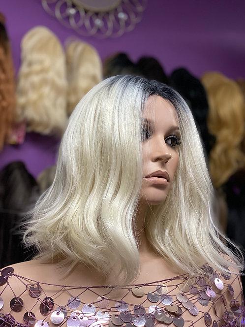 "11"" Human Hair Blend Lace Part Wig"