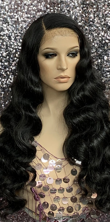 """23"""" Human Hair Blend Deep Part Lace Frontal Wig"""