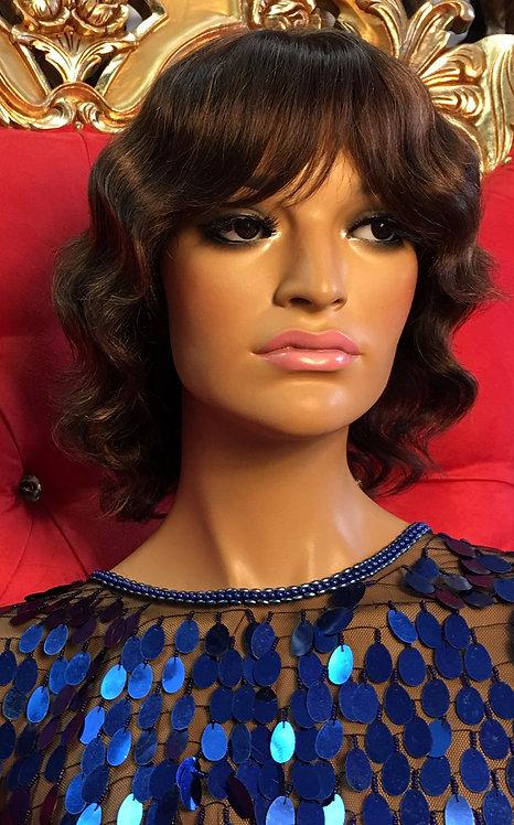 """8"""" 100% European Human Hair Full Cap Wig"""