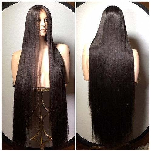 "46"" 100% European Virgin Remy Human Hair Silk Top Lace Frontal Wig"