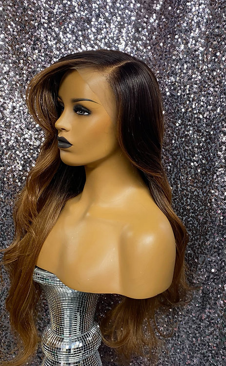 """24"""" Human Hair Blend Deep Part Lace Frontal Wig"""