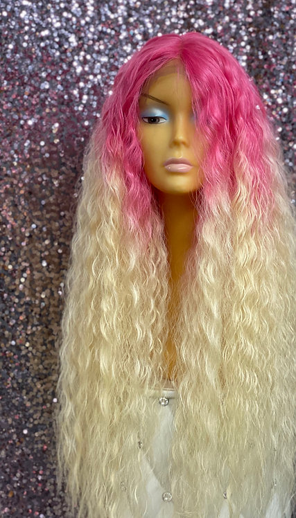 "23"" Human Hair Blend Lace Frontal Deep Part Wig"