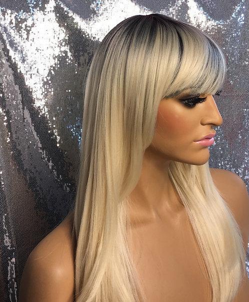 "15"" Human Hair Blend Full Cap Wig"