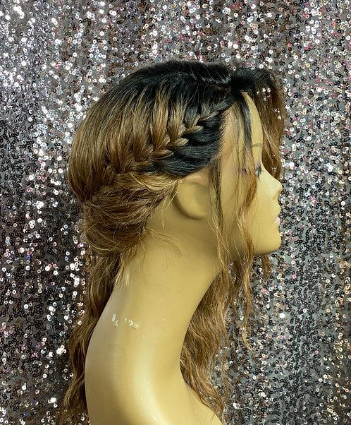 "13"" Human Hair Blend Lace Front Deep Part Wig"
