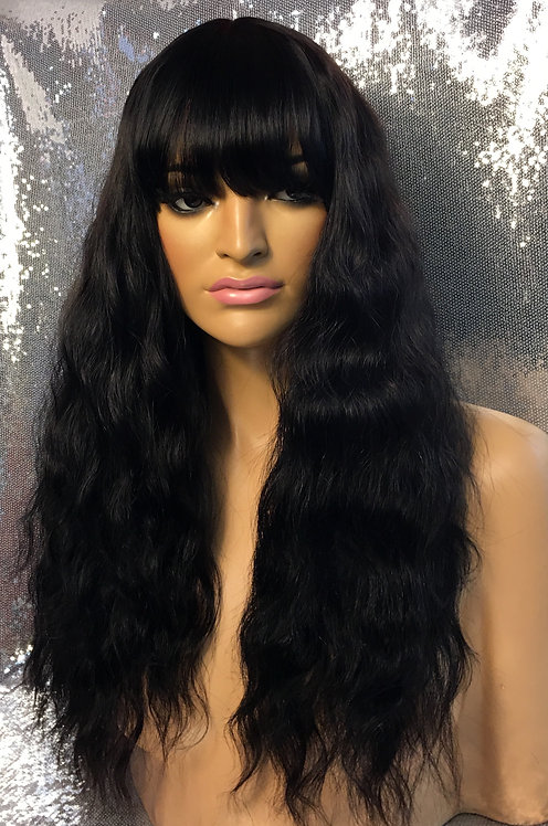 "18"" Human Hair Blend Monofilament Wig"