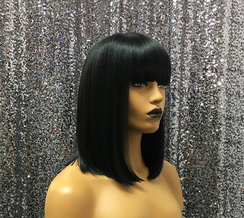 "10"" Human Hair Blend Cap Full Wig"