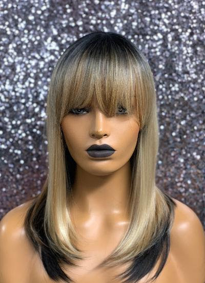 "13"" Human Hair Blend Classic Cap Full Wig"