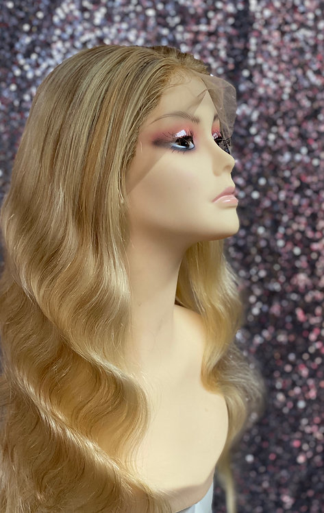 """18"""" 100% European Human Hair Rooted Full Lace Wig"""
