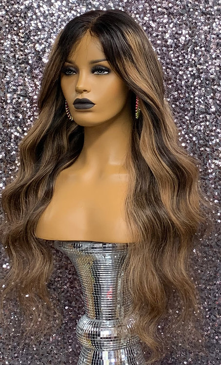 """27"""" 100% Human Hair Deep Part Lace Front Wig"""